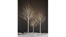 Image of a White Pre-Lit Trees (Set of 3 - Varied Heights- Lg, M, Sm)