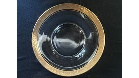 Image of a Glass Salad Plate with Gold Rosette Trim