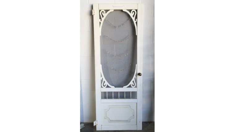 Picture of a White Washed Door w/ Screen Window
