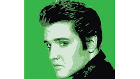 Image of a Sign: Elvis 4x4 Rock Lithograph Green