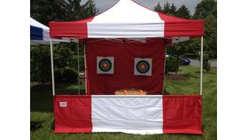 Image of a Pipe and Drape: Carnival Booth Red/White Banjo 10'x8'x10'