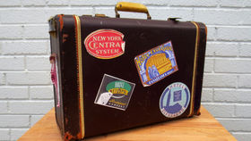 Image of a Vintage Luggage, Dark Brown with Stickers