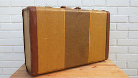 Image of a Vintage Luggage, Yellow Checked