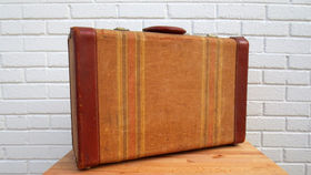 Image of a Vintage Luggage, Tan with Red Leather