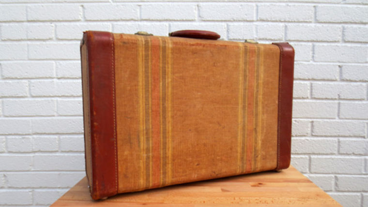 Picture of a Vintage Luggage, Tan with Red Leather