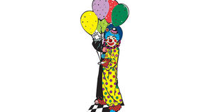 Image of a Circus Clown with Balloons, 2D