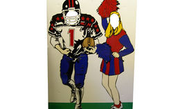 Image of a Photo Op: Football Player with Cheerleader