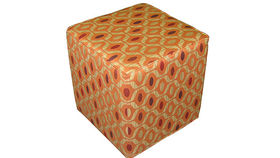 "Image of a 18"" Cube Ottoman, Orange"