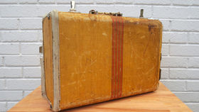 Image of a Vintage Luggage, Tan with Red Stripe