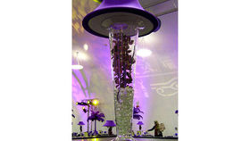Image of a Trumpet Vase: Purple Shade & Orchids
