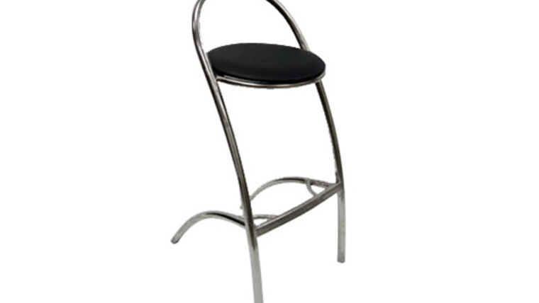 Picture of a Z Stainless Steel Barstool With Black Seat