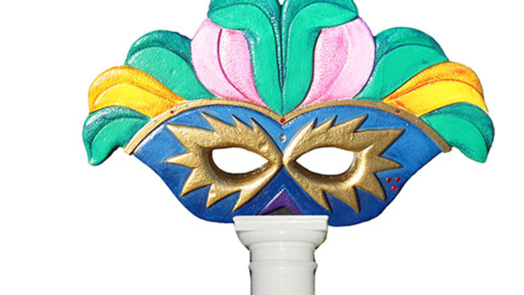 Picture of a Blue and Gold Feathered Mask Column Topper