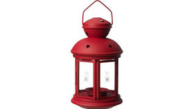Image of a Lanterns: Round Tin Red