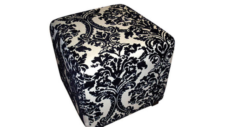 "Picture of a 18"" Cube Ottoman, Damask"