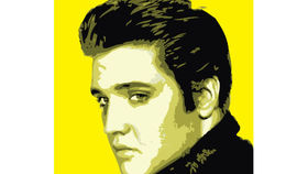 Image of a Sign: Elvis 4x4 Rock Lithograph Yellow