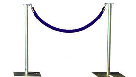 Image of a Rope and Stanchion: Blue Velvet and Aluminum