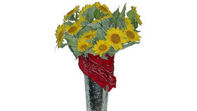 Image of a Floral: Sunflowers in Tin Urn