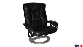Image of a Chairs: Black Leather Samsonite Recliner