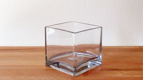 "Image of a 4"" Glass Cube Vase"