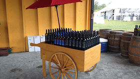 Image of a Prop: Vendor Cart w/ Umbrella, Natural Pine Finish
