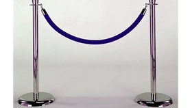 Image of a Rope and Stanchion: Blue Velvet and Chrome