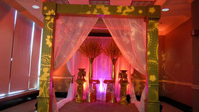Image of a Gold Mandap Arch with Sheer Drape Canopy