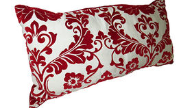 Image of a Red Damask Pillow, Long