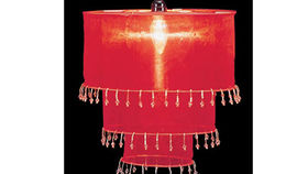 Image of a Fabric and Crystal 3 Tier Chandelier, Red