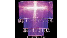 Image of a Fabric and Crystal 3 Tier Chandelier, Violet