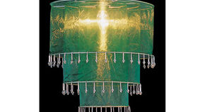 Image of a Fabric and Crystal 3 Tier Chandelier, Green