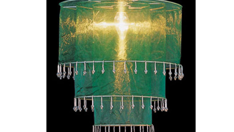 Picture of a Fabric and Crystal 3 Tier Chandelier, Green