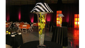 Image of a Trumpet Vase: Black and White Striped Shade and Florals