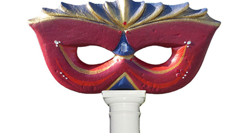 Picture of a Red Jeweled Mask Column Topper