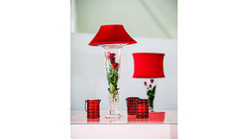 Image of a Trumpet Vase: Red Shade w/ Red Roses
