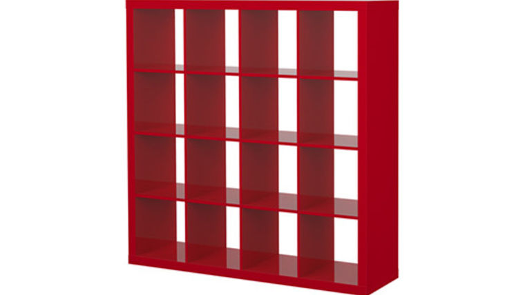 Picture of a Red Bar Back Cube Shelves