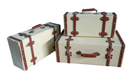 Image of a Vintage Luggage:  Leather Edges and Straps (3/set)