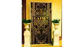 Image of a Wall: Gatsby Gate with Pedestals & Urn w/ Ferns