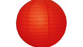 "Image of a Paper Lanterns: 18"" Red on Lamp Wire"