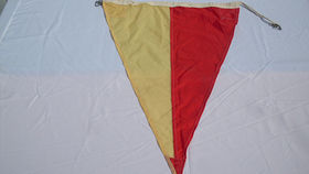 Image of a Nautical Signal Flag, Triangle Parti-colored