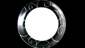 Image of a Base Plates:  Black and White Scroll Rim 12""