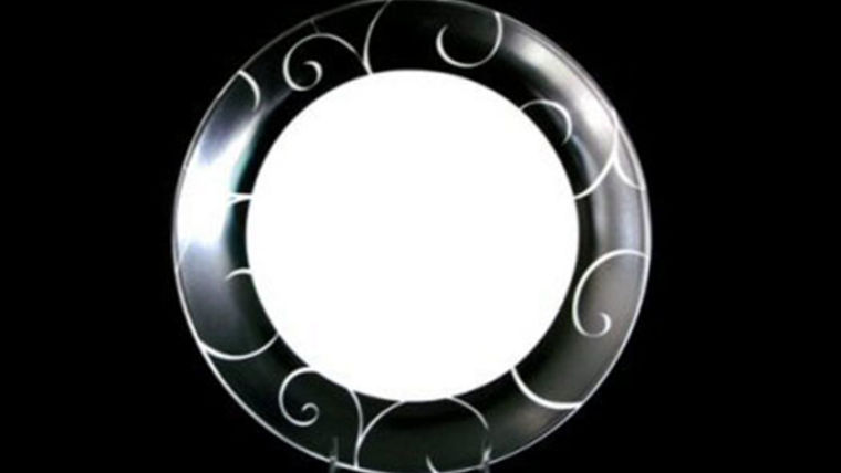 "Base Plates:  Black and White Scroll Rim 12"" : goodshuffle.com"