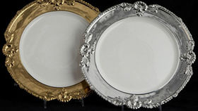 Image of a Base Plates: Silver Ornate Rim 12""