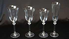 Image of a Glassware: Empire Platinum Rim White Wine Glass