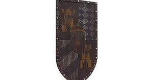 Image of a Prop: Shield, Medieval Heater with Castle and Key