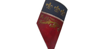 Image of a Prop: Shield, Medieval Slanted Red and Blue