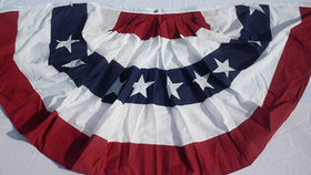 Image of a American Bunting, Pleated with Stars, 6' x 3'