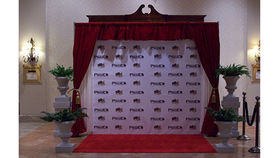 Image of a Drape Kit: Red crushed velvet swags with Step & Repeat