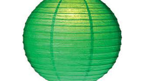 "Image of a Paper Lanterns: 18"" Green on Lamp Wire"