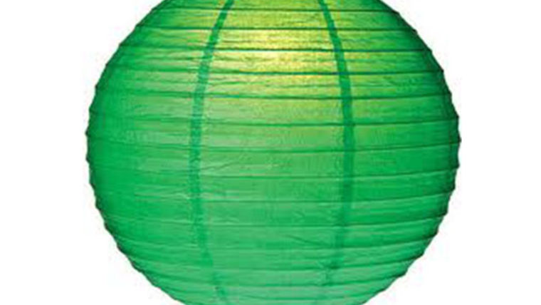 "Picture of a Paper Lanterns: 18"" Green on Lamp Wire"