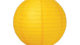 "Image of a Paper Lanterns: 18"" Yellow on Lamp Wire"